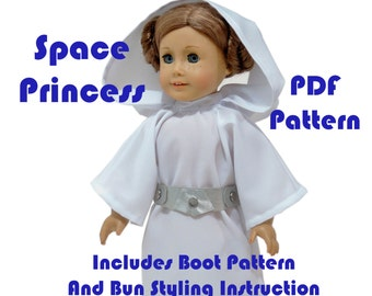 Space Princess American Girl Doll Clothes Pattern 18 inch Doll pattern PDF Princess Leia doll dress sewing pattern