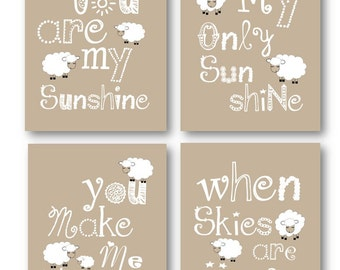 Lamb Nursery Decor // Tan Nursery Art Prints // Kids Wall Art // You are my Sunshine Art Prints // Tan Nursery Decor //4 PRINTS ONLY
