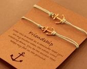 Anchor Friendship Bracelet Set: Set of Anchor Friendship Bracelets, Nautical, Anchor Jewelry, Best Friends, Bridesmaid, Colour Choice