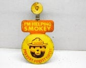 Vintage Tin Smokey the Bear Prevent Forest Fires Fold Over Pin Button       DR2