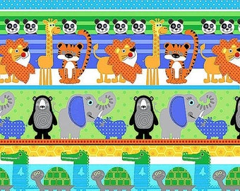 SALE At the Zoo Stripe Henry Glass Fabrics Jungle Animals Safari Moneys Giraffes Zebras Lions Tigers Sale