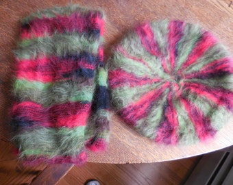 Vintage Black/Red/Green Terratrade Company Set Made in Italy Chou Chou Retro 1950s to 1970s Angora and Wool Soft Scarf and Beret Hat