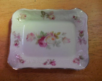 Vintage 1950s to 1960s Bavaria Schumann Arzberg Germany Small Rectangle Trinket Dish Pink Roses Gold Trim White Porcelain