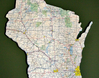 WISCONSIN Vintage State Map Wall Art (Medium size)