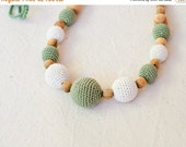 FLASH SALE Olive & Cream Nursing Necklace / Teething Necklace for mom to wear