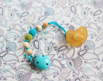 Wood Beaded Pacifier Clip in Apple Green & Turquoise - Juniper Wood - KangarooCare