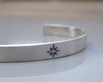 Mens cuff, Sterling silver cuff bracelet , Compass bracelet, Mens jewelry