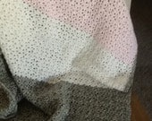 """White, pink, and gray baby blanket 35""""x31"""""""