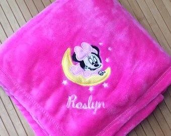 Embroidered Personalized Baby Minnie Mouse Blanket Monogrammed