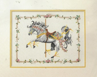 1980s Gray Carousel Horse Bernat Counted Cross Stitch Kit HO4170 Designed by J.A. Zoppel Design Studio Unopened Birthday Gift for Her