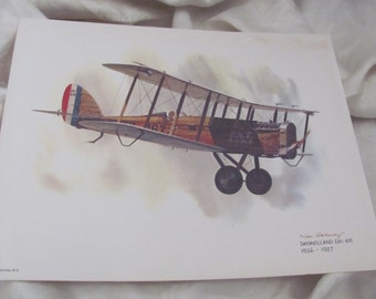 Vintage United Airlines Print Poster - DeHavilland DH-4B  1926 - 1927 - Galloway