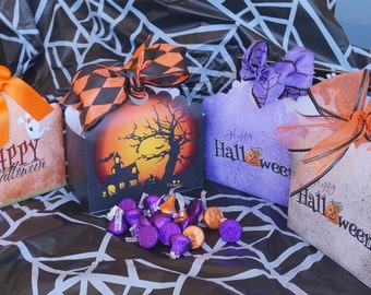 Halloween favor boxes, Halloween reat box,Halloween cookie box, Halloween party favors, Halloween theme party,   Set of 10