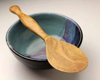 handmade heavy duty wooden spurtle kitchen utensil wooden spatula carved from Black Cherry wood rice and dough paddle