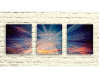 "Canvas Wall Art Set. Sunset. Night Sky. Moon. Colorful Cloudy Sky. Nature. ""Lunar Lullaby"". Sunburst. Surreal. Pink. Purple. Blue. Orange"