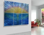 art painting on Metal Huge modern sculpture LARGE wall decor blue sea sunrise new style hand made Original unique artwork by Lubo Naydenov