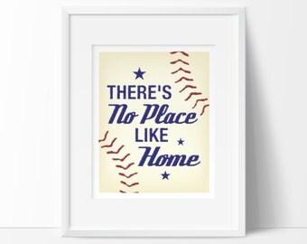 Theres no place like home, INSTANT DOWNLOAD, baseball nursery, sports nursery decor, baby boy nursery, baseball nursery art, kids playroom