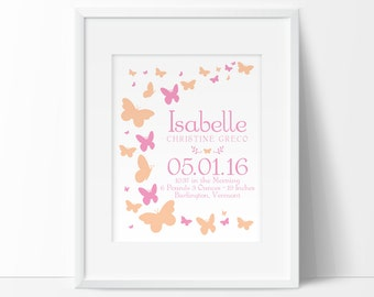 Butterfly Nursery decor, Baby stats, Birth Announcement Wall Art, baby girl nursery decor, Personalized baby gift, Birth Stats Wall Art