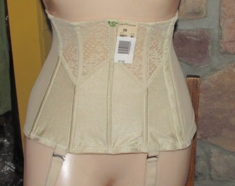 Vintage 1980s Waist Cincher / Girdle  Tan Lace Lingerie Lady Marlene Sz. #26 Unworn with Tags