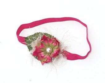 Fuchsia Headband for Newborn Baby Photo Prop - Silk Flower Hair Bow for Flower Girl, Wedding - Baby Shower Gift