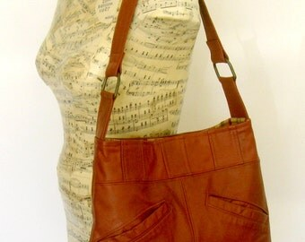 Recycled Leather Handbag Tote in Warm Brown - Upcycled Leather