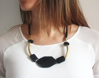 Black and brass statement necklace