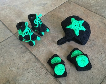 Crocheted baby Roller Derby Outfit