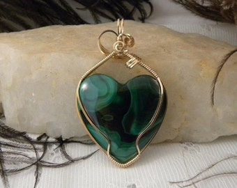 Malachite Heart wrapped in Gold