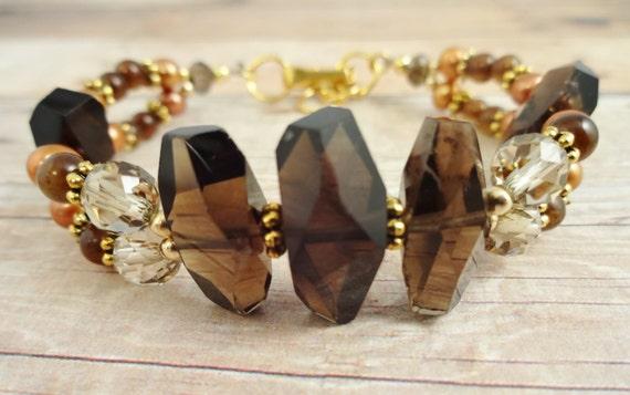 Smokey Quartz, Freshwater Pearl & Jade bracelet, Smoky Quartz bracelet, Brown Stone Bracelet