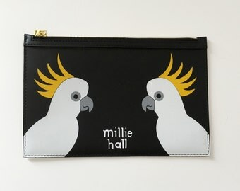 Leather cockatoo clutch