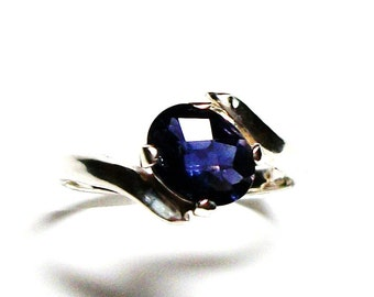 """Iolite, iolite ring, checkerboard ring, solitaire ring, blue,  blue ring, s 6 1/2  """"Wild Blue Yonder"""""""