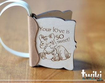 Small wood greeting card - Wood engraved card, valentine's day card, love card, wood card, laser cut card, laser engraved card, gift for her