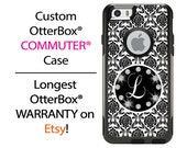 iPhone OtterBox Commuter Case for iPhone 6/6s, 6 Plus/6s Plus, 5/5s, 5c, 4/4s, Galaxy S6 S5 S4 Note 5 4 Monogrammed Damask Bling Phone Case