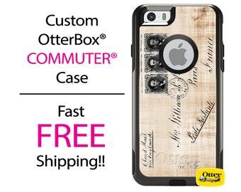 OTTERBOX Commuter iPhone 7, 7 Plus, 6/6s, 6 Plus/6s Plus, 5/5s/SE, 5c Galaxy S7 S6 S5 Note 5 Case Vintage Paris Postcard design Personalized