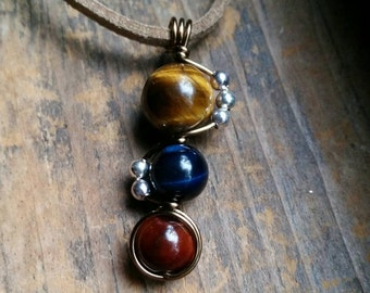 Tiger's Eye Three Color Amulet Wire Wrapped Stone Pendant