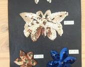 Vintage Sequin Sample Card Flowers & Butterflies