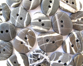 Beach Stone Buttons Mediterranean Beach Rock Pebble River Stone Knitting Sewing Buttons Artisan Findings STRIPED DARK BUTTONS 20-22 mm
