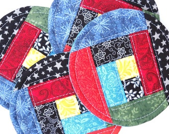 Fabric Coaster Set, Quilted Patchwork Coasters, Colorful Mug Rugs