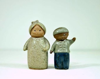 Vintage Stoneware Viking Importrade Salt and Pepper Shakers Woman and Boy / Mother and Son