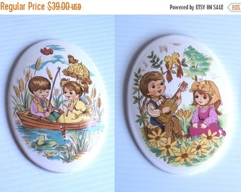 Half Off vintage 70s set of 2 BOY and GIRL in love PICTURES wall hangings kitschy home decor retro art