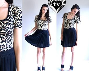 vtg 80s LEOPARD PRINT cheetah LEOTARD Small animal avant garde bodysuit top blouse