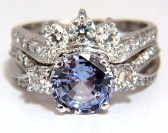 GIA Certified 3.48ct natural lilav purple sapphire diamond ring & band platinum