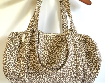 Leopard Print Quilted Duffel Bag