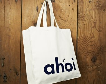 AHOY MARIE AHOI nautical canvas shopper, tote bag, beach bag- maritime style - blue and white on natural cotton canvas - long carry handles