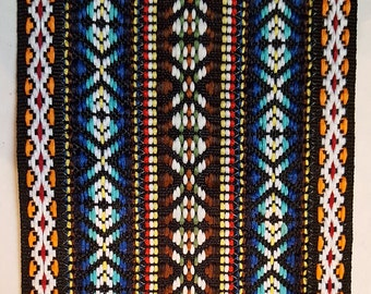 "Wide Jacquard Ribbon Bright Tribal 3 5/8"" Reversible 9.2CM trim BTY brown green yellow red blue black orange embellishment yards tribal"