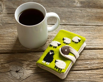 Black Sheep Felt Tea Wallet, Wool Tea Holder, Gift for Tea Lover