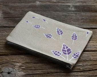 Linen and Cotton Zipper Pouch with Hand Painted Lavender Purple Leaves with Silver Metallic Effect, Nature Inspired Cosmetic Bag