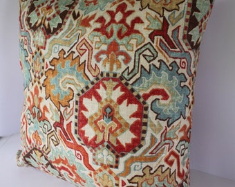 Decorative Pillow Cover in Madrid Persian Ethnic Southwest Damask Linen Fabric