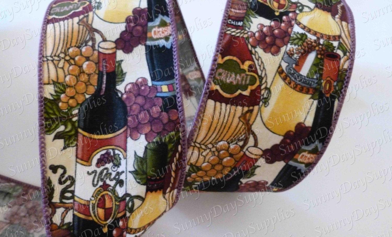 Wine Wired Ribbon, Wine Bottles, Deep Jewel tone Colors ...