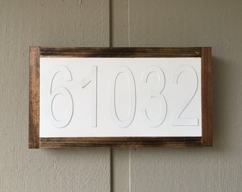FREE SHIPPING | Zip Code House Number Date Year Sign - Custom Sign - Gallery Wall Wedding Decor Gift Farmhouse