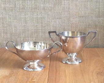 Set of 2 Silverplated Trophy Urns--Silverplated Containers--Vintage Trophy Urns